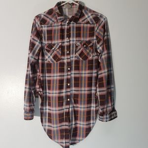 Passport Button Down Red Blue Plaid Top